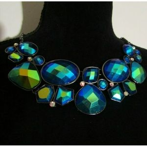 BLUE GREEN PRISMATIC GLAM NECKLACE 19-21""